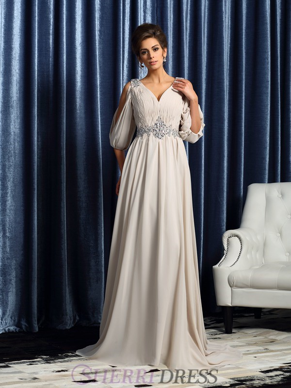 A-Line/Princess V-neck Chiffon 1/2 Sleeves Court Train Mother of the Bride Dresses