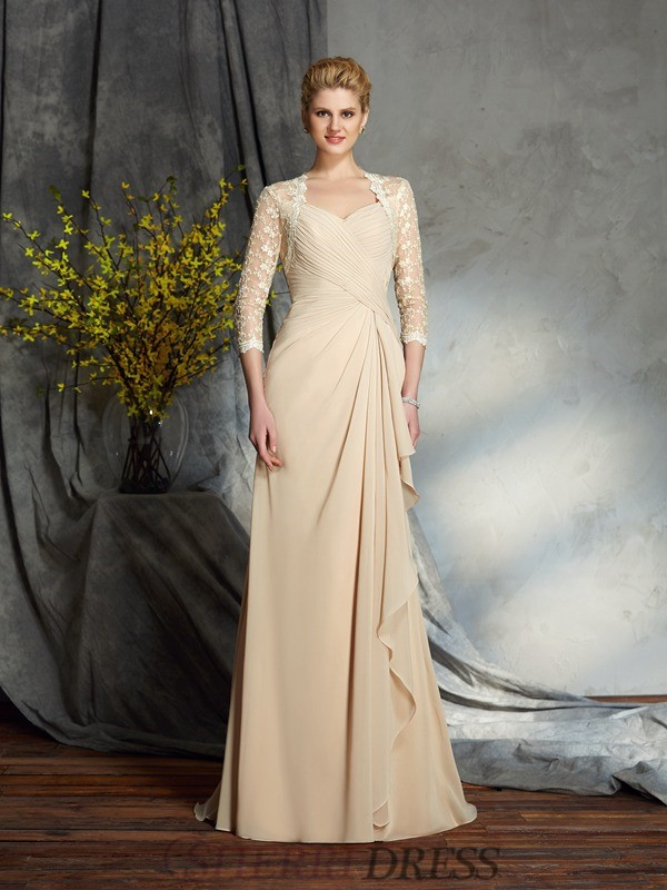 A-Line/Princess Sweetheart Chiffon 3/4 Sleeves Sweep/Brush Train Mother of the Bride Dresses