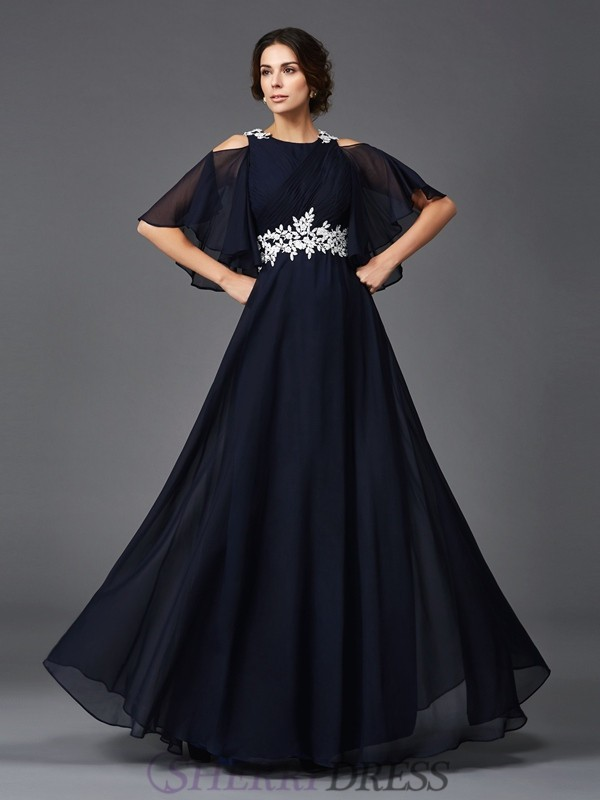 A-Line/Princess Straps Chiffon 1/2 Sleeves Floor-Length Mother of the Bride Dresses