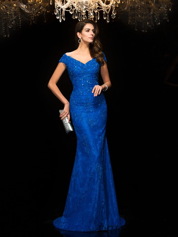 Trumpet/Mermaid V-neck Lace Sleeveless Sweep/Brush Train Mother of the Bride Dresses