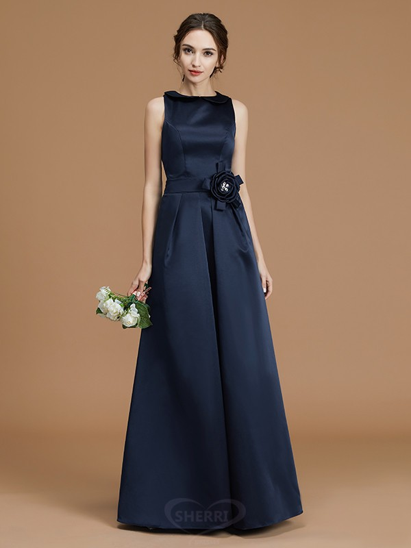 A-Line/Princess Bateau Satin Sleeveless Floor-Length Bridesmaid Dresses