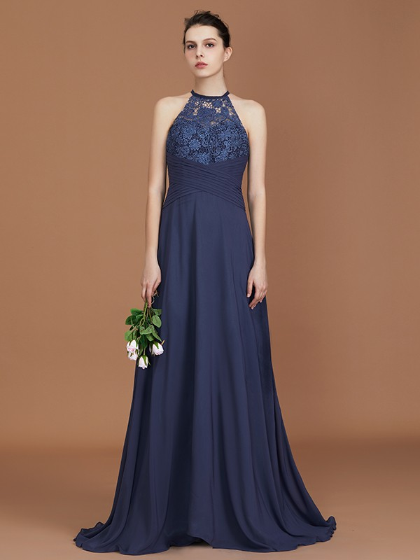 A-Line/Princess Scoop Chiffon Sleeveless Sweep Train Bridesmaid Dresses