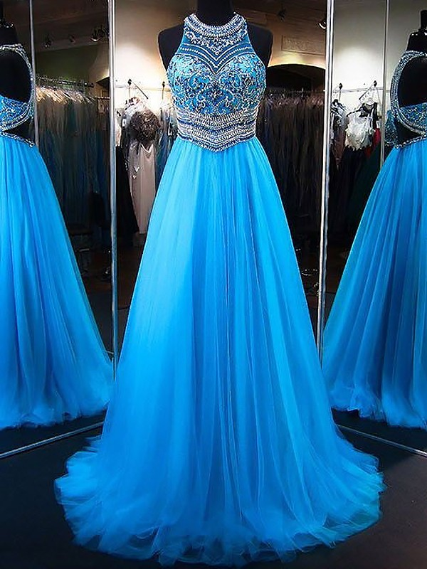 A-Line/Princess Jewel Tulle Sleeveless Sweep/Brush Train Dresses