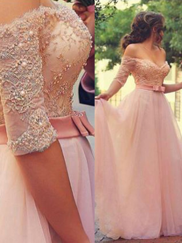 A-Line/Princess Off-the-Shoulder Tulle 1/2 Sleeves Floor-Length Dresses