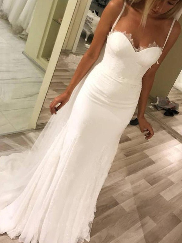 Sheath/Column Sweetheart Satin Sleeveless Sweep/Brush Train Wedding Dresses