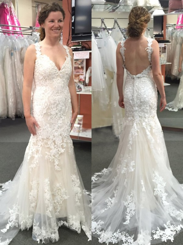 Trumpet/Mermaid Straps Tulle Sleeveless Sweep/Brush Train Wedding Dresses