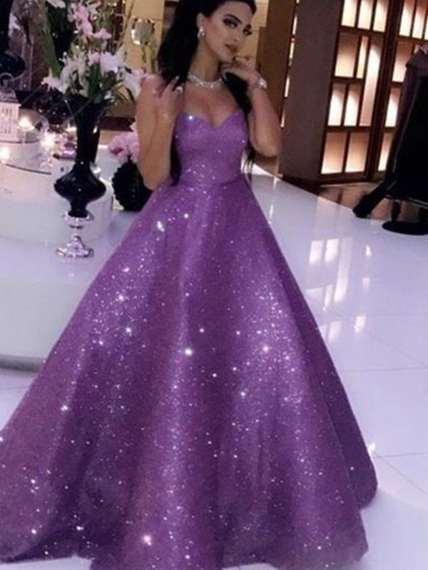 Ball Gown Sweetheart Sequins Sleeveless Sweep/Brush Train Dresses