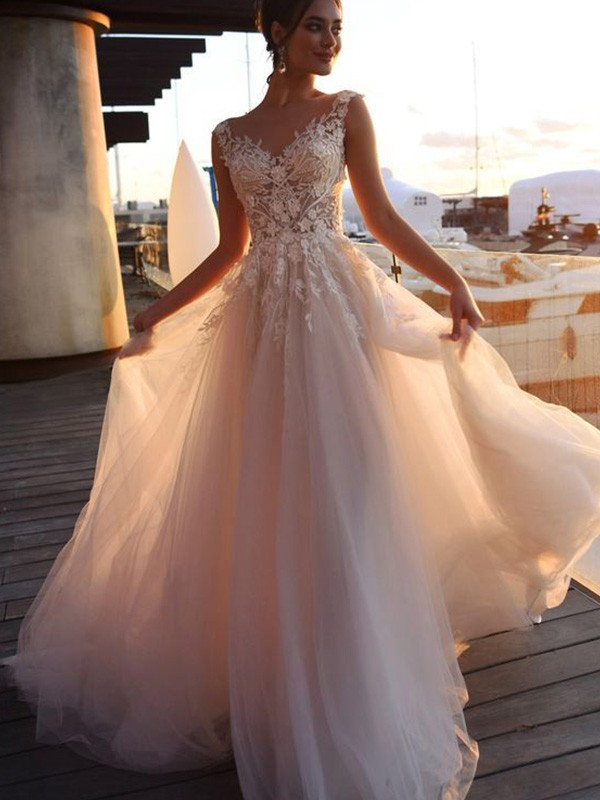 A-Line/Princess Bateau Tulle Short Sleeves Sweep/Brush Train Wedding Dresses