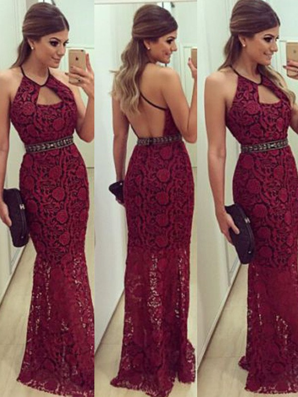 Sheath/Column Halter Lace Sleeveless Floor-Length Dresses