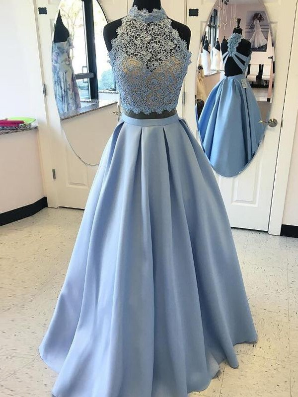 Ball Gown High Neck Satin Sleeveless Floor-Length Two Piece Dresses