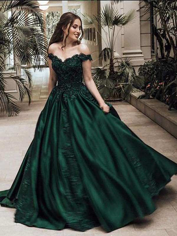 Ball Gown Off-the-Shoulder Satin Sleeveless Floor-Length Dresses