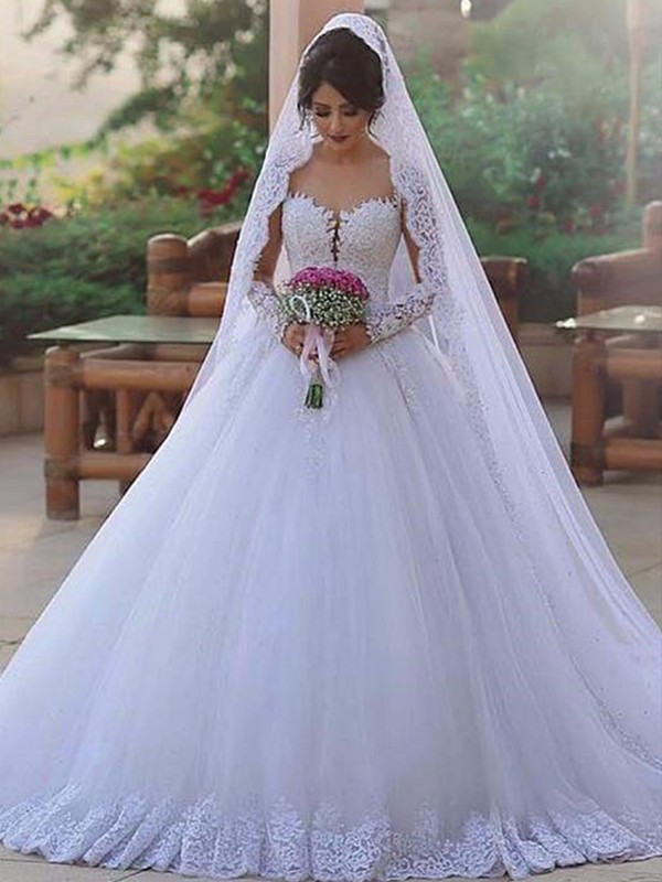 Ball Gown Sweetheart Tulle Long Sleeves Sweep/Brush Train Wedding Dresses