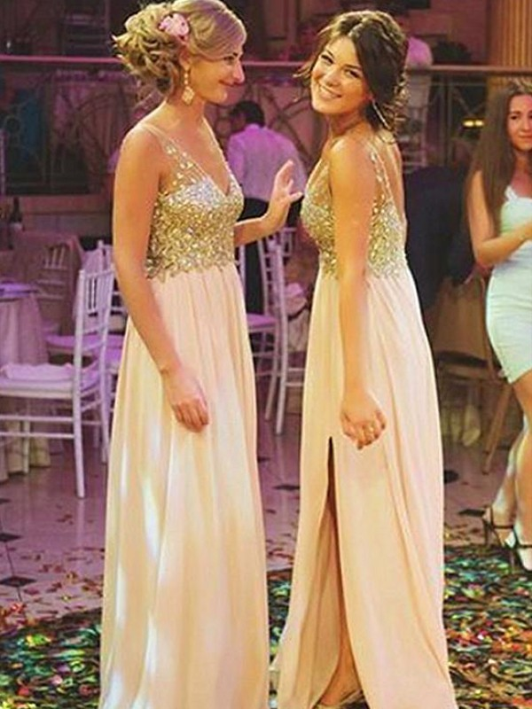 A-Line/Princess V-neck Chiffon Sleeveless Sweep/Brush Train Bridesmaid Dresses