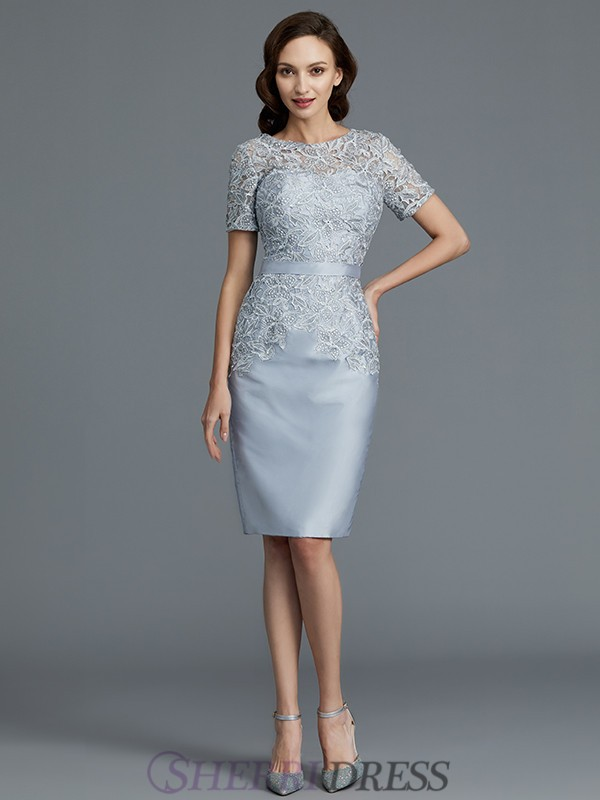 f07665b9a650 Sheath/Column Scoop Satin Short Sleeves Knee-Length Mother of the Bride  Dresses