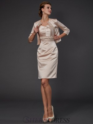 Sheath/Column Square Satin Sleeveless Knee-Length Mother of the Bride Dresses