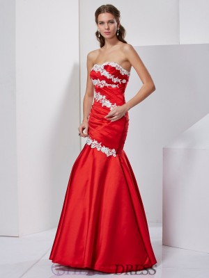 Trumpet/Mermaid Sweetheart Chiffon Sleeveless Floor-Length Dresses