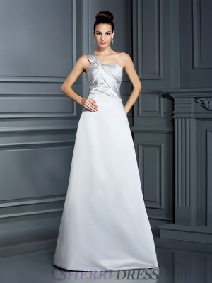 A-Line/Princess One-Shoulder Satin Sleeveless Floor-Length Dresses