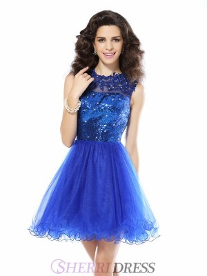 A-Line/Princess Scoop Net Sleeveless Short/Mini Dresses