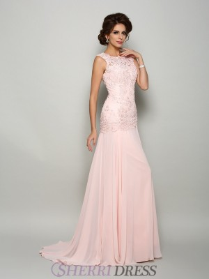 Trumpet/Mermaid Scoop Chiffon Sleeveless Sweep/Brush Train Mother of the Bride Dresses