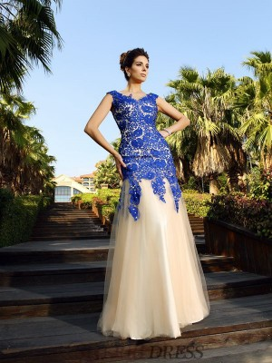 Sheath/Column V-neck Net Sleeveless Floor-Length Dresses
