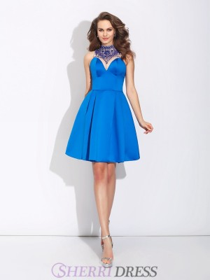 A-Line/Princess High Neck Satin Sleeveless Short/Mini Prom Dresses