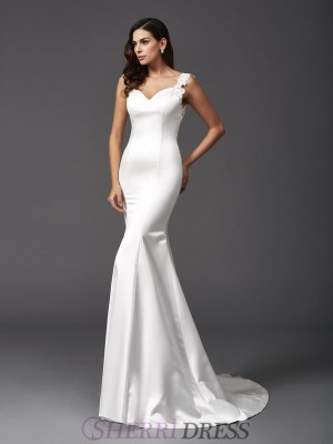 Trumpet/Mermaid Straps Satin Sleeveless Sweep/Brush Train Wedding Dresses