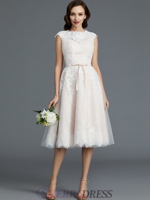 A-Line/Princess Bateau Tulle Sleeveless Knee-Length Wedding Dresses