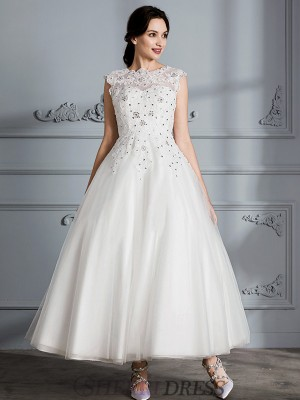 Ball Gown Scoop Tulle Sleeveless Tea-Length Wedding Dresses