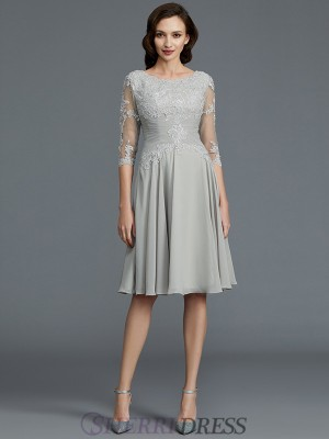 A-Line/Princess Scoop Chiffon 1/2 Sleeves Knee-Length Mother of the Bride Dresses