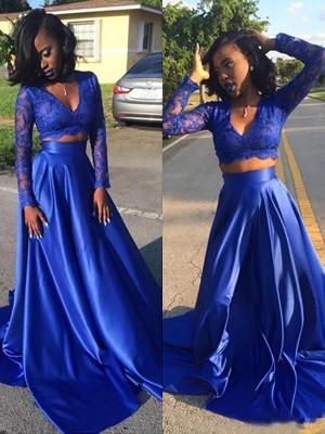 A-Line/Princess V-neck Satin Long Sleeves Sweep/Brush Train Two Piece Dresses