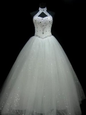 Ball Gown Halter Tulle Sleeveless Floor-Length Wedding Dresses