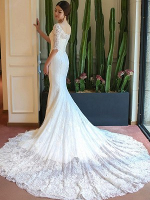 Trumpet/Mermaid Square Lace 1/2 Sleeves Cathedral Train Wedding Dresses