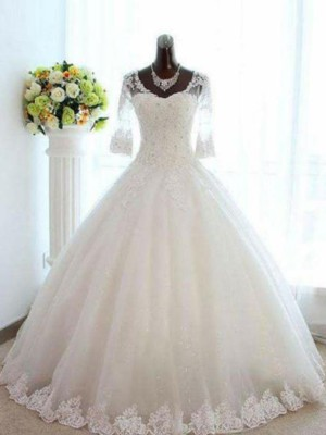 Ball Gown Bateau Tulle 3/4 Sleeves Floor-Length Wedding Dresses