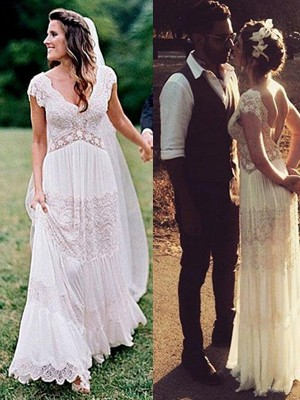 A-Line/Princess V-neck Lace Short Sleeves Floor-Length Wedding Dresses