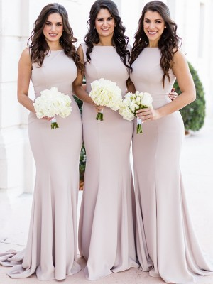 Sheath/Column Sheer Neck Spandex Sleeveless Sweep/Brush Train Bridesmaid Dresses