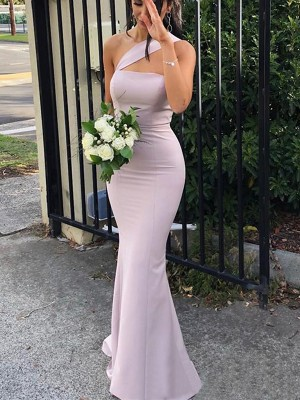 Sheath/Column One-Shoulder Spandex Sleeveless Floor-Length Bridesmaid Dresses