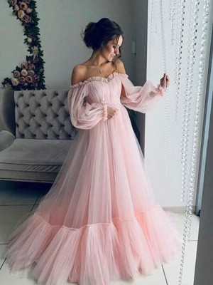 A-Line/Princess Off-the-Shoulder Tulle Long Sleeves Sweep/Brush Train Dresses