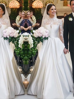 A-Line/Princess High Neck Satin Long Sleeves Floor-Length Wedding Dresses