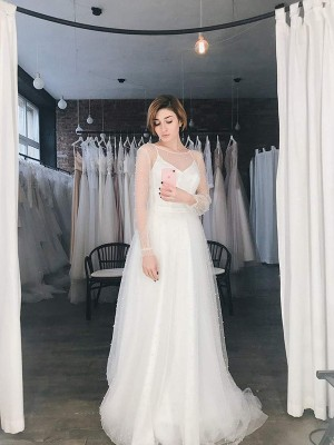 A-Line/Princess Scoop Tulle Long Sleeves Sweep/Brush Train Wedding Dresses