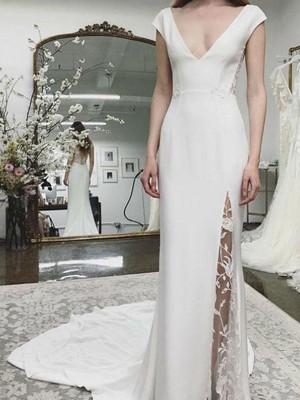 Sheath/Column V-neck Satin Sleeveless Court Train Wedding Dresses