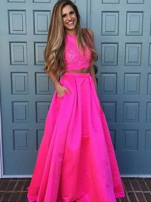 A-Line/Princess Scoop Satin Sleeveless Floor-Length Two Piece Dresses