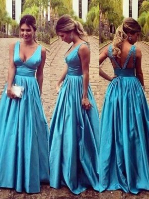 A-Line/Princess V-neck Elastic Woven Satin Sleeveless Floor-Length Dresses