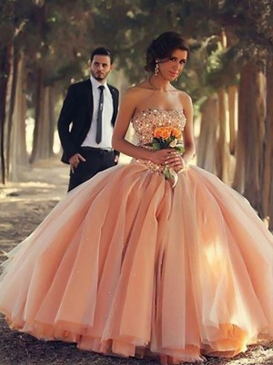 Ball Gown Strapless Tulle Sleeveless Floor-Length Dresses