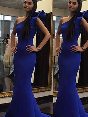 Trumpet/Mermaid One-Shoulder Satin Sleeveless Sweep/Brush Train Dresses
