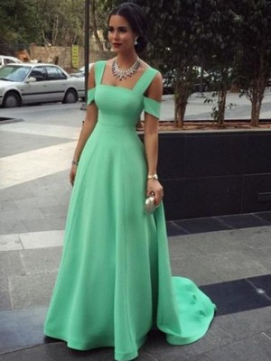 A-Line/Princess Straps Satin Sleeveless Floor-Length Prom Dresses