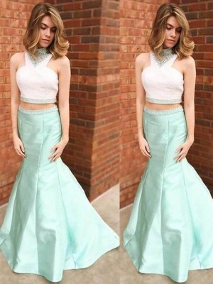 Trumpet/Mermaid High Neck Satin Sleeveless Floor-Length Two Piece Prom Dresses