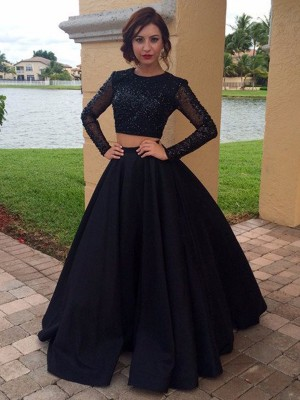 Ball Gown Scoop Satin Long Sleeves Floor-Length Two Piece Prom Dresses