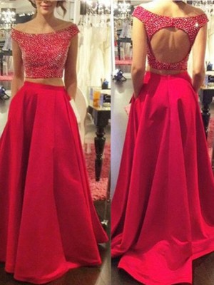 A-Line/Princess Bateau Satin Sleeveless Sweep/Brush Train Two Piece Prom Dresses