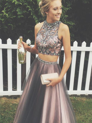 A-Line/Princess Scoop Tulle Sleeveless Floor-Length Two Piece Prom Dresses