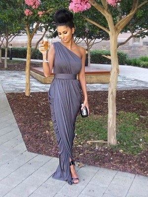 Sheath/Column One-Shoulder Jersey Sleeveless Floor-Length Bridesmaid Dresses